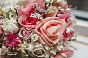 pretty Butterfly and pearl rose bouquet