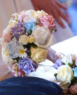 Daisy purple and blue bridal bouquet
