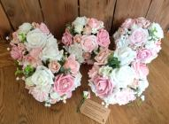 Foam and silk pink and ivory bridesmaids bouquets