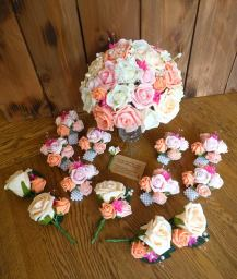 Fuschia pink and coral wedding flower package