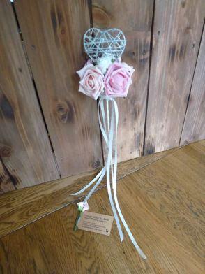 Heart flower girl wand roses pink