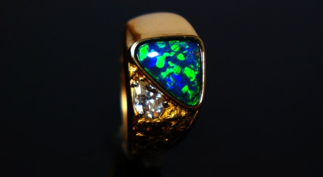 Opals in engagement ring