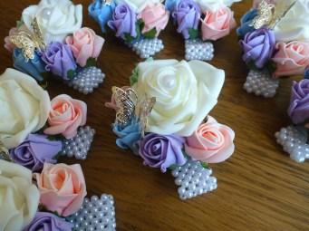 pastel mix wrist corsages