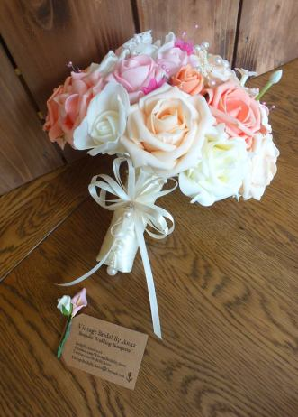 Peach and coral with ivory bouquet handle