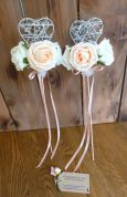 Peach and ivory flowergirl wands