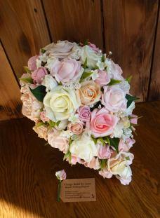 Peach and pink foam teardrop wedding bridal bouquet
