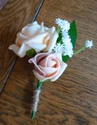 Peach and pink gypsophila buttonhole