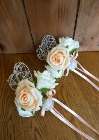 Peach heart wands with satin ribbon