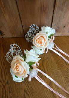 Peach heart wands with satin ribbon