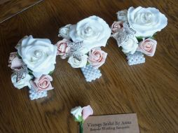 Pearl wrist corsages pink and ivory rose