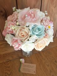 Pink and blue silk and foam lace daisy bouquet