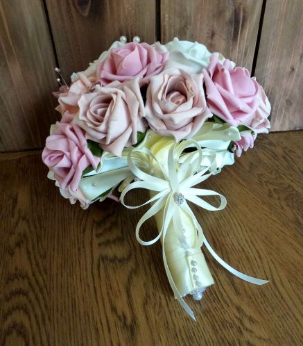 vintage Pink and ivory artificial wedding bouquet