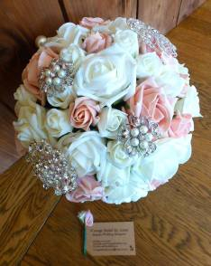 Pink and ivory pearl brooch bridal bouquet