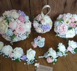Artificial Bridal Bouquet and Pomander and buttonholes