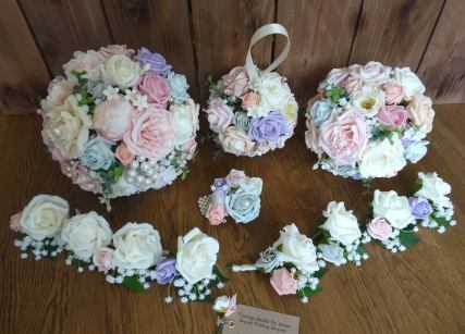 Artificial Bridal Bouquet and Pomander and buttonholes