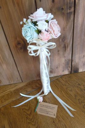 Rose blue and pink flower girl wand