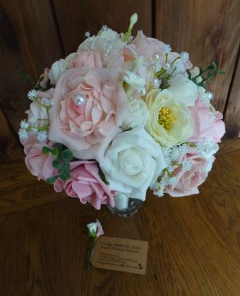 Roses and poenies pink and white silk bouquets