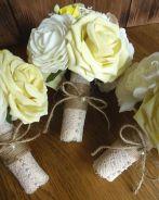 Rustic vintage hesian flower bouquets