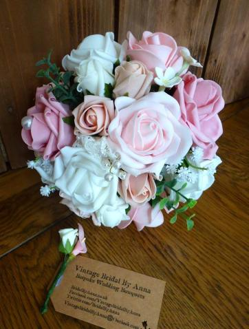 Silk and foam pearl bridal bouquets