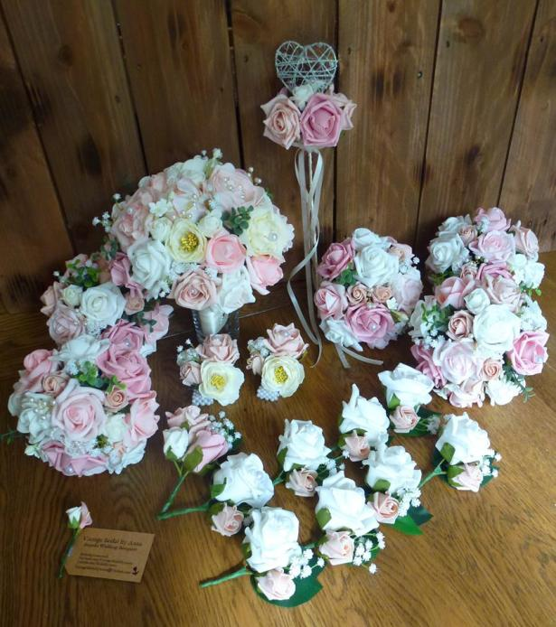 Silk and foam pink peony and wand wedding flowers