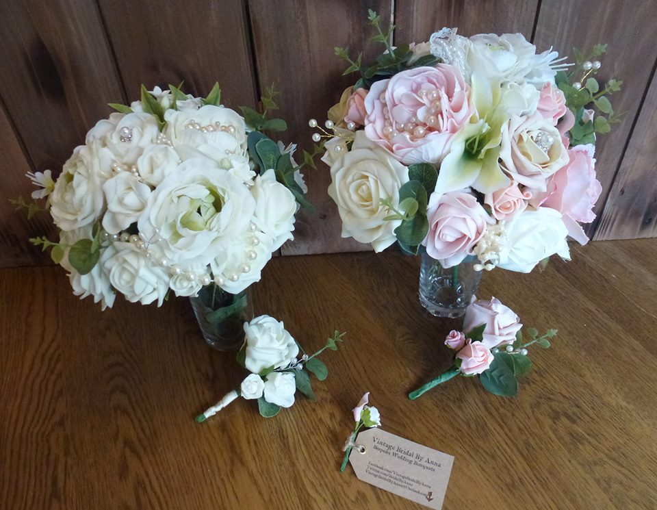 Silk and foam wedding flowers peony