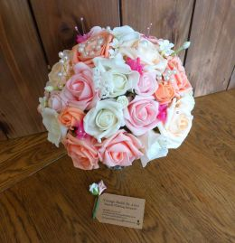blush pink rose and pearl with peach bouquet