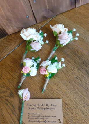 childrens pink and gypsophila buttonholes