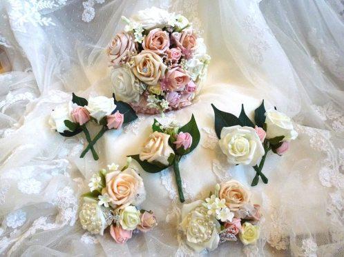 wedding wrist corsage buttonholes and bridesmaid bouquet