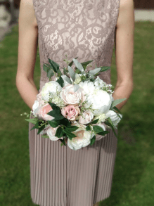 white and blush pink with eucalyptus
