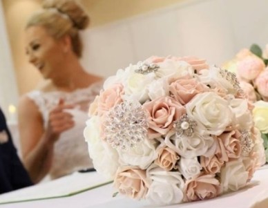 white-and-pink-artificial-flowers