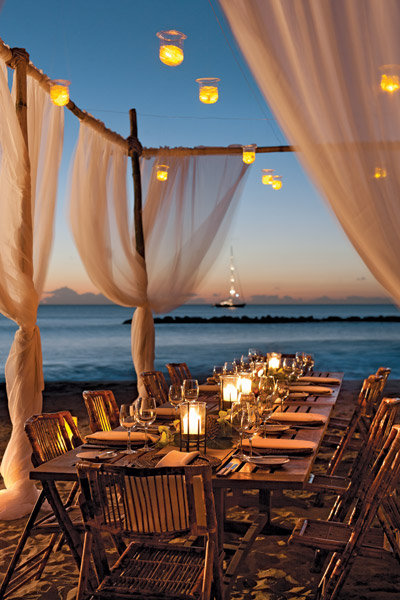 candlelit reception at the four seasons in nevis