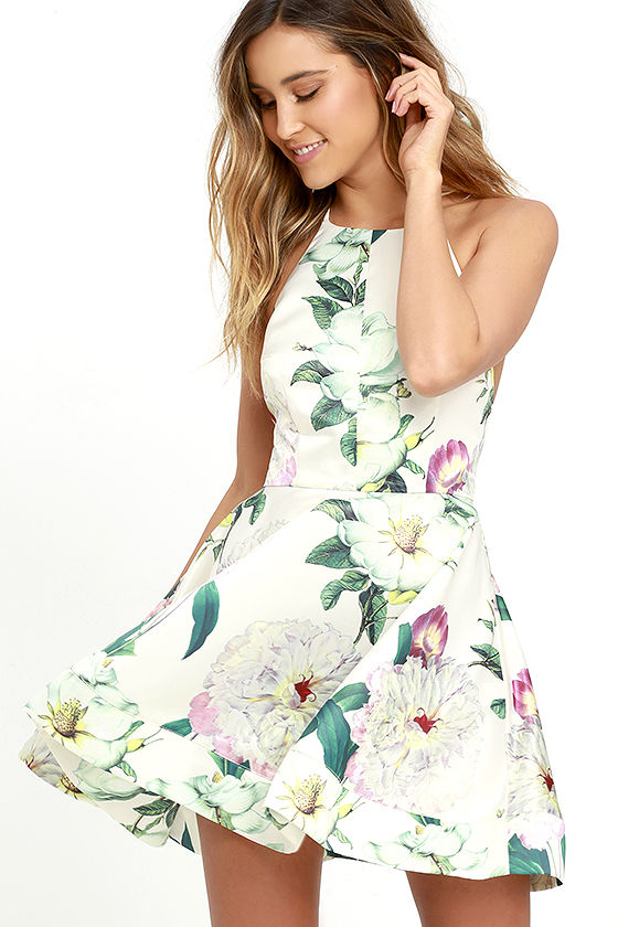 luluscom 64 style hydrangea haven cream floral print skater dress