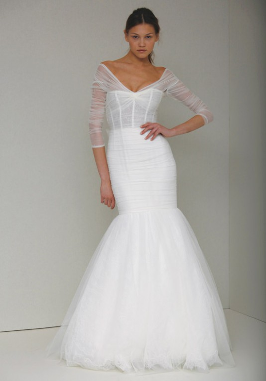 Modern Wedding Dresses.A Modern Wedding Dress With Delicate Sheer Sleeves Addie Bridal