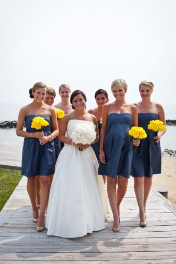 blue bridesmaids dresses and yellow flowers   hendrickson photography weddings