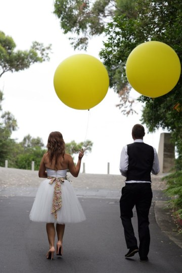 yellow balloons bride and groom | sugar love weddings