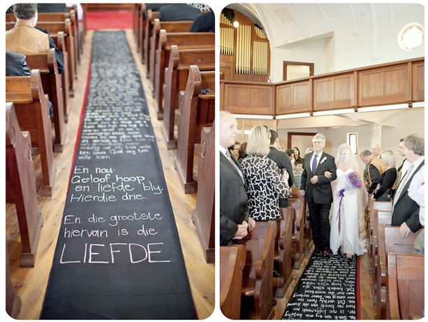 diy aisle runner  messages of love