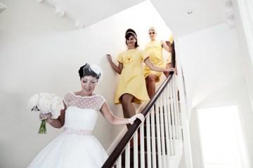 1960s style bridesmaids lemon yellow dress   nick tucker photography