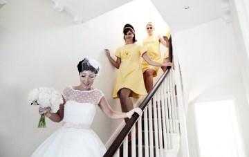 1960s style bridesmaids lemon yellow dress | nick tucker photography