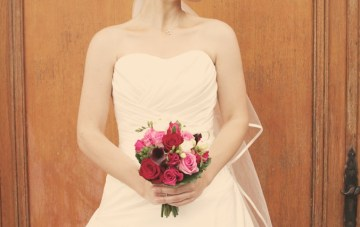 beautiful wedding dress with veil   claire eliza photography