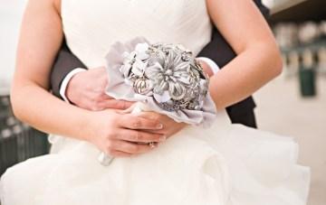 fabric wedding bouquet   honey heart photography
