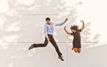 Perfectly Playful City Chic Engagement Shoot