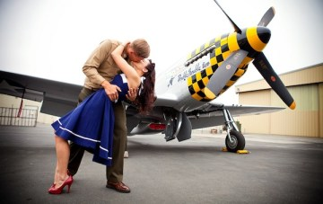 Vintage Pin Up Aviator Engagement Shoot
