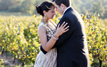 Gold, Pink & Purple Multicultural Vineyard Wedding In France