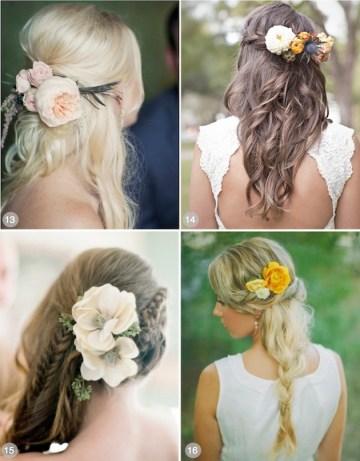 flowers in hair half up half down hairstyles