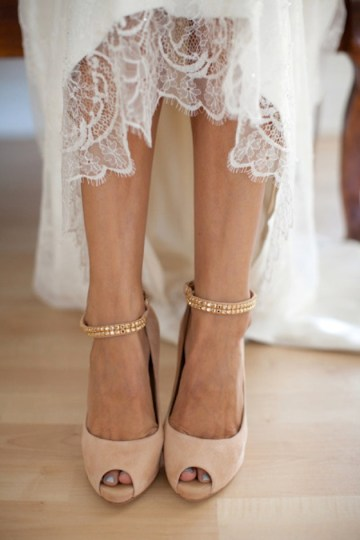 blush pink bridal shoes Birds of a feather photography via style me pretty