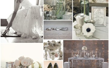 Sage Green, White Anemones & Mecury Glass Wedding Inspiration
