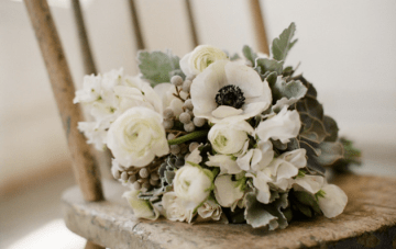 Sage Green, White and Grey Anenome Bouquet