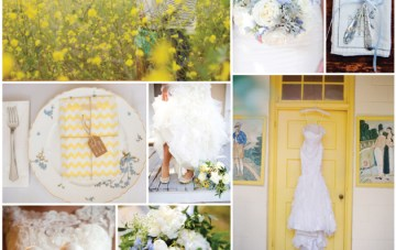 Sunshine Yellow & Powder Blue Wedding Inspiration Board