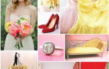 Poppy, Pink and Primrose Yellow Wedding Inspiration Board