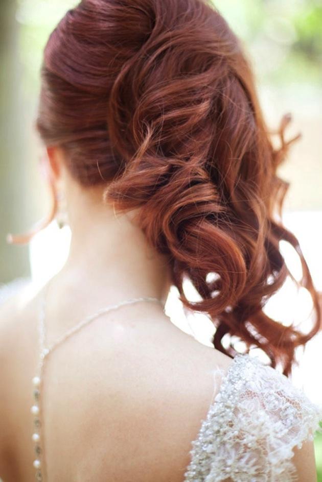 Side Swept Waves Curls Wedding Hairstyle 1  Bridal Musings Wedding Blog